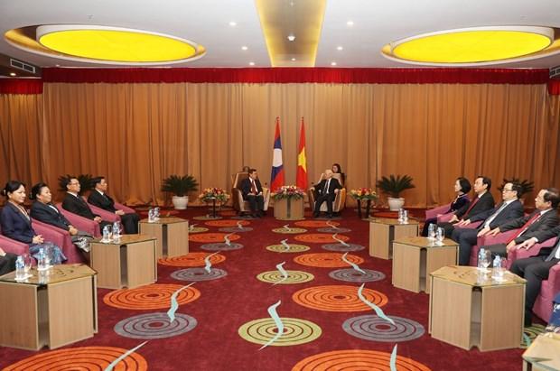 越共中央总书记、国家主席阮富仲会见老挝建国阵线中央委员会代表团 hinh anh 2
