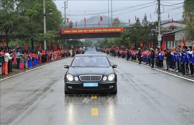 朝鲜最高领导人金正恩车队离开同登火车站 驶往河内 hinh anh 2