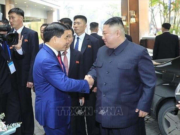 美朝领导人会晤:朝鲜最高领导人金正恩抵达河内市 hinh anh 1
