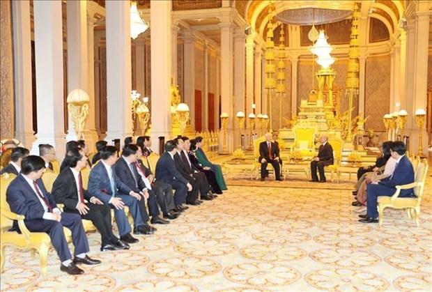 越共中央总书记阮富仲致电感谢柬埔寨国王诺罗敦 hinh anh 1