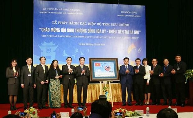 欢迎美朝领导人会晤的特种邮票正式发行 hinh anh 1