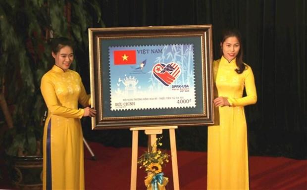 欢迎美朝领导人会晤的特种邮票正式发行 hinh anh 2