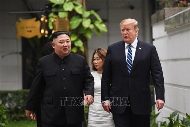 美朝领导人第二次会晤:两国领导参加双边扩大会议 hinh anh 1