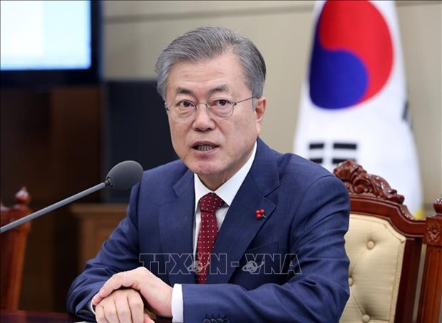 朝美领导人第二次会晤:韩国总统密切关注会晤进展情况 hinh anh 1