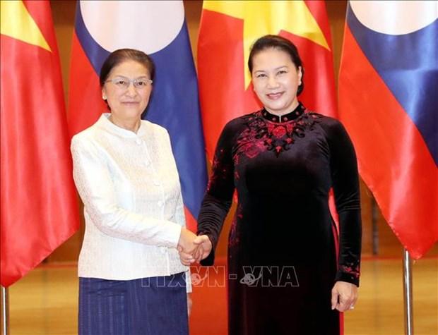 越老两国国会主席举行工作会谈 hinh anh 1