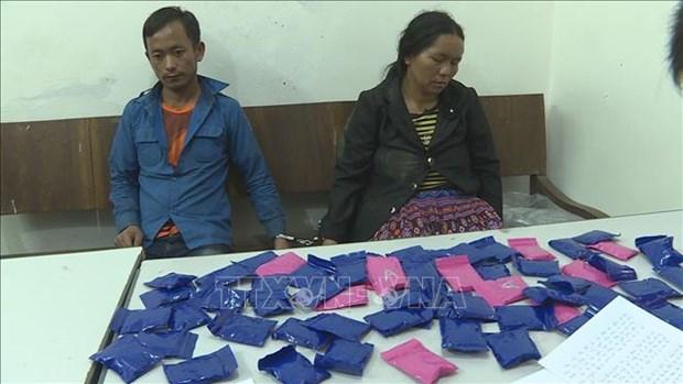 两名老挝人因非法运输合成毒品被山萝省公安逮捕 hinh anh 1