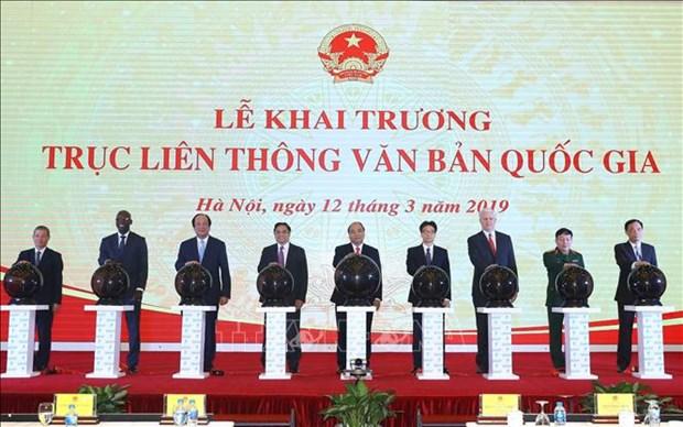 越南政府总理阮春福出席国家电子文件交换平台开通仪式 hinh anh 1