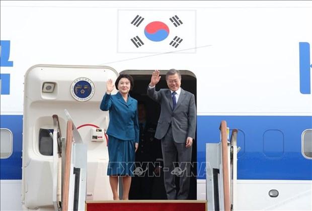 韩国总统文在寅结束东南亚三国之行 hinh anh 1