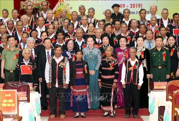 国会主席阮氏金银出席西原各民族长老决心书落实十年总结会议 hinh anh 1