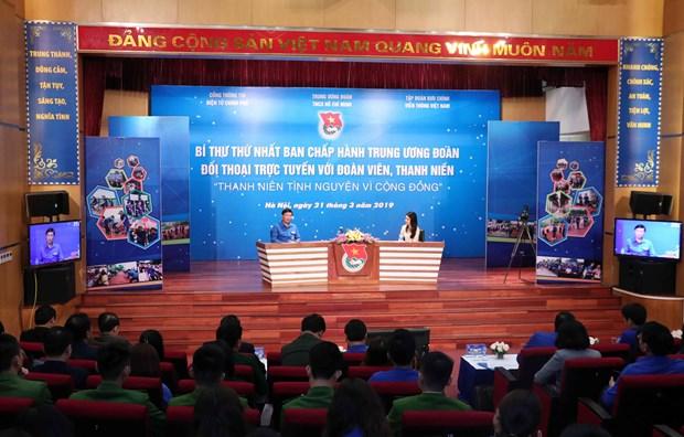 """2019年""""青年月""""活动:胡志明共青团中央书记与青年团员对话交流 hinh anh 2"""