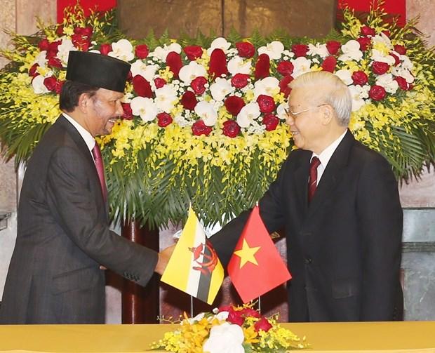 越南与文莱就建立全面伙伴关系发表联合声明 hinh anh 1