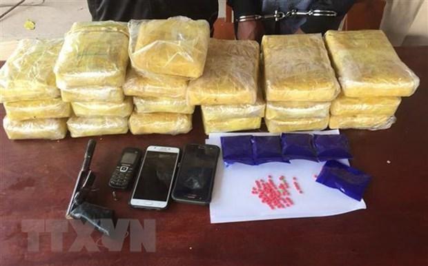 胡志明市公安局截获一辆藏着大量毒品的皮卡车 hinh anh 1