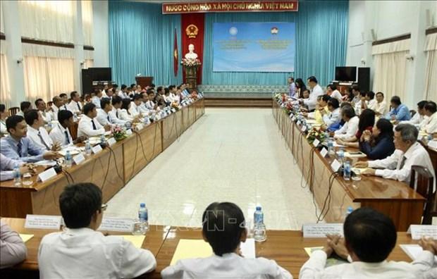 越南安江省与柬埔寨干丹省和茶胶省合作建设和平友谊边界线 hinh anh 1