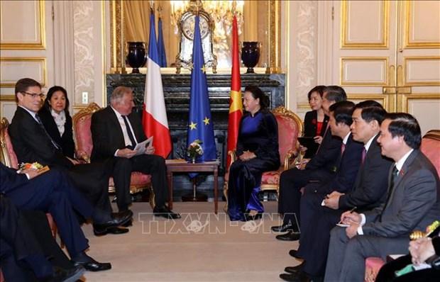 越南国会主席阮氏金银与法国参议院议长拉尔歇就许多问题交换看法 hinh anh 1