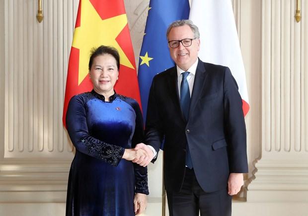 越南国会主席阮氏金银同法国国民议会议长举行会谈 hinh anh 1