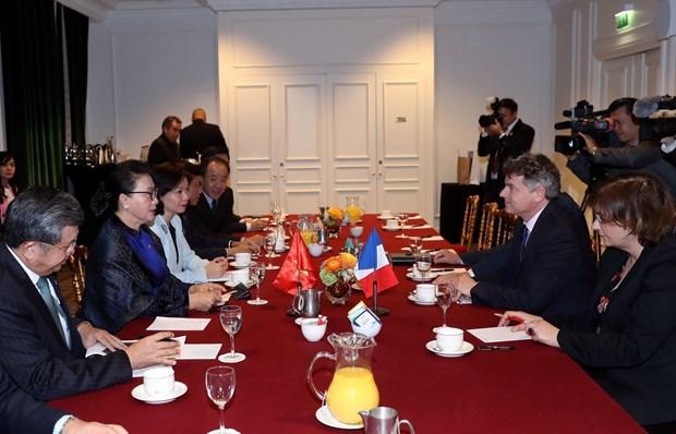 越南国会主席阮氏金银会见法国共产党全国书记法比安鲁塞尔 hinh anh 2