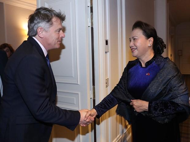 越南国会主席阮氏金银会见法国共产党全国书记法比安鲁塞尔 hinh anh 1