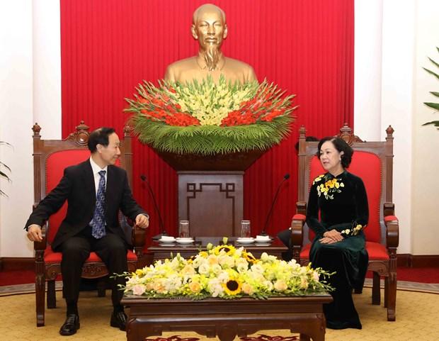越共中央民运部部长张氏梅会见中国宋庆龄基金会主席王家瑞 hinh anh 2