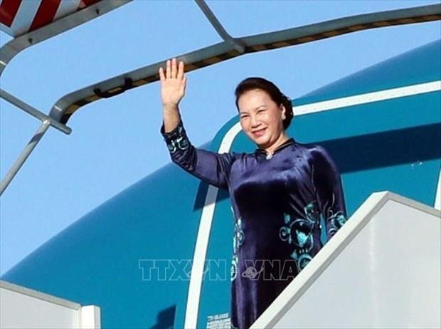 越南国会主席阮氏金银启程前往卡塔尔出席IPU-140 hinh anh 1