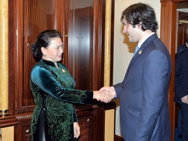IPU-140间隙:越南国会主席阮氏金银与部分国家国会领导会晤 hinh anh 1
