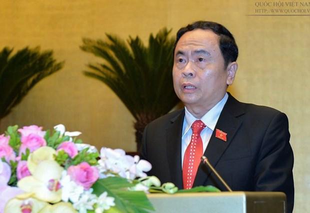 越南祖国阵线中央委员会主席陈清敏向韩桑林致贺电 hinh anh 1