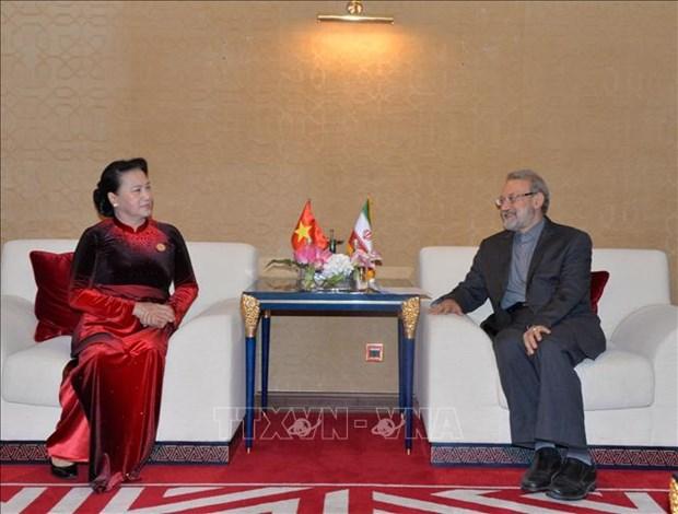 越南国会主席阮氏金银会见伊朗伊斯兰共和国议会议长阿里•拉里贾尼 hinh anh 1