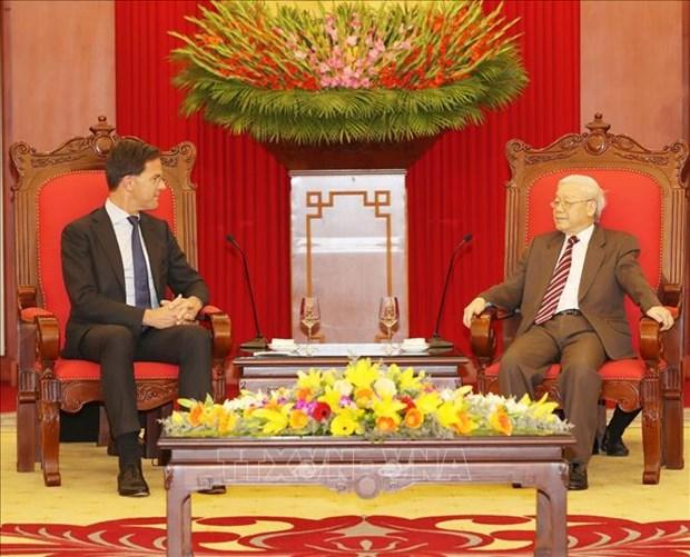 越共中央总书记、国家主席阮富仲会见荷兰首相马克·吕特 hinh anh 1