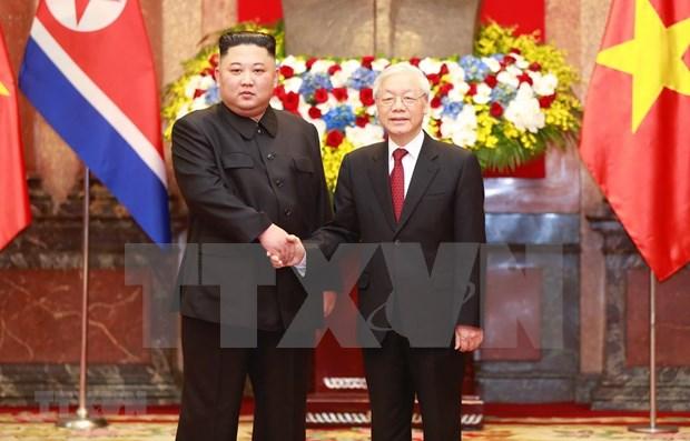 阮富仲向朝鲜国务委员会委员长金正恩致贺电 hinh anh 1