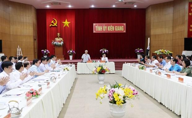 阮富仲:坚江省以经济发展为中心、以党建为核心 实现全面发展 hinh anh 1