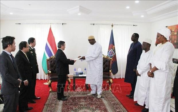 越南驻冈比亚大使范国柱向冈比亚总统递交国书 hinh anh 1