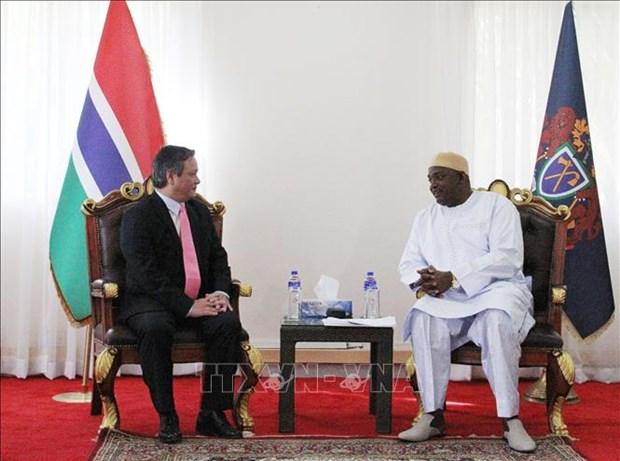 越南驻冈比亚大使范国柱向冈比亚总统递交国书 hinh anh 2