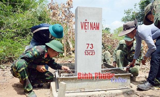 平福省完成越柬陆地边界勘界立碑工作 hinh anh 1