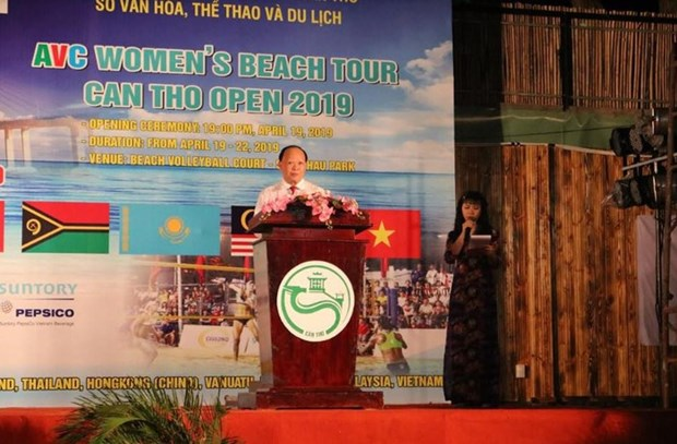 2019年亚洲女子沙滩排球比赛在芹苴市开幕 hinh anh 1