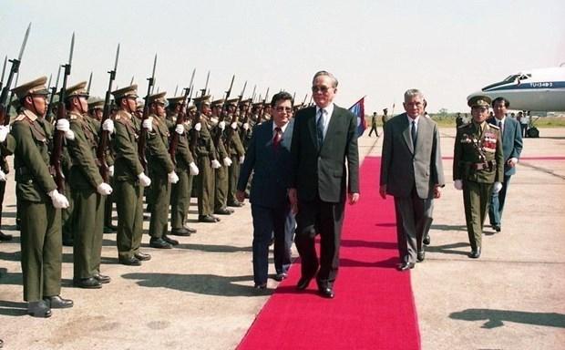 老挝高级领导就原越南国家主席黎德英逝世致唁电 hinh anh 1