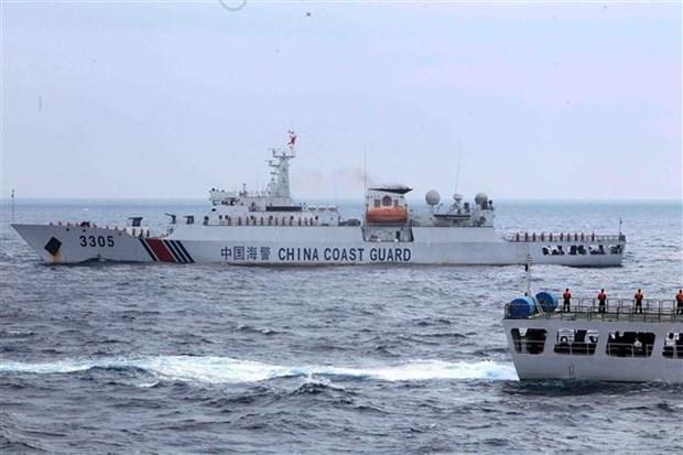 越中两国海警开展北部湾共同渔区渔业海上联合检查 hinh anh 1
