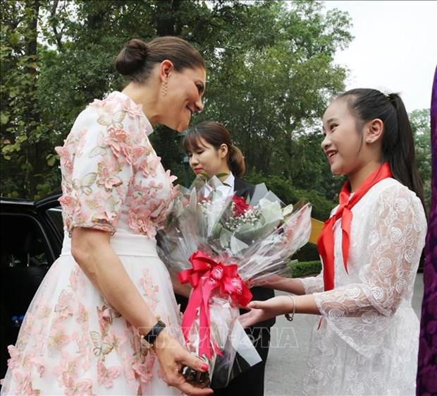越南国家副主席邓氏玉盛举行仪式欢迎瑞典女王储维多利亚访越 hinh anh 1