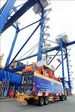 海防新港国际集装箱港迎来首艘集装箱船 hinh anh 2