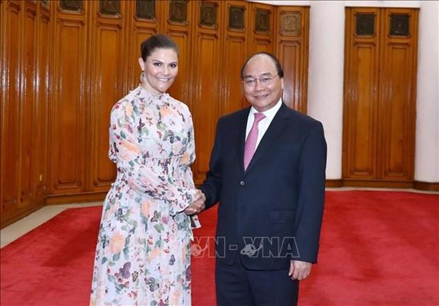 越南政府总理阮春福会见瑞典女王储维多利亚 hinh anh 1