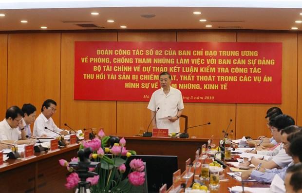 苏林大将:财政部党组在贪腐案中违法占有财产的回收工作付出巨大努力 hinh anh 1