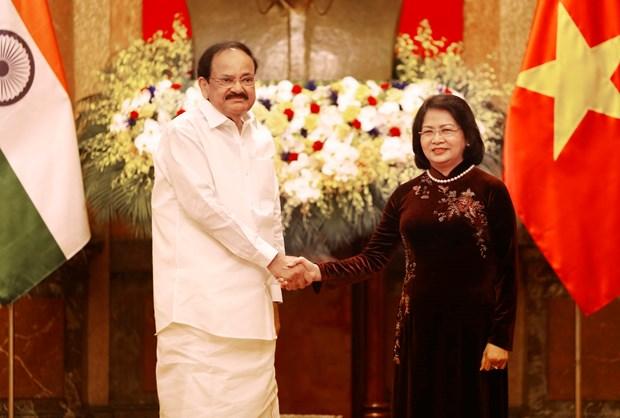 越南国家副主席邓氏玉盛与印度副总统奈杜举行会谈 hinh anh 1