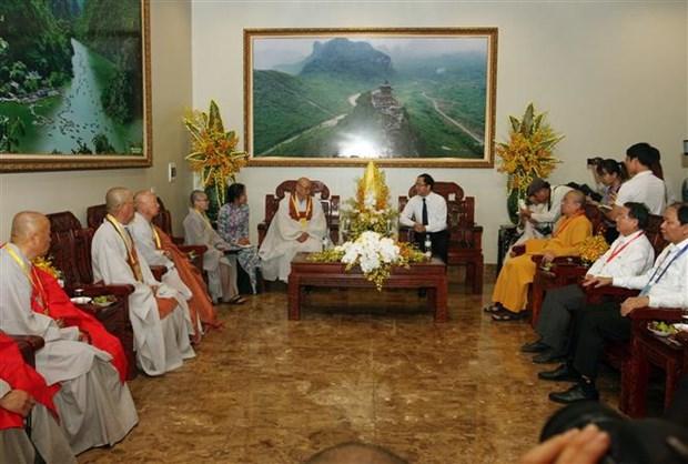 越南政府宗教委员会主任武战胜会见韩国佛教代表团 hinh anh 1