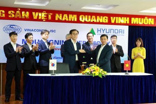 Vinaconex与韩国承包商Hyundai E&C签署合作备忘录 hinh anh 1