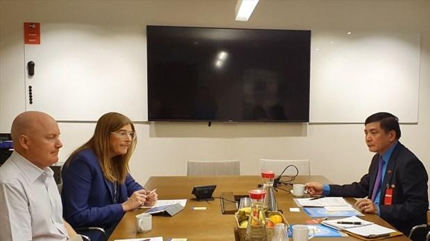 越南劳动总联合会主席裴文强同瑞典总工会领导举行会谈 hinh anh 1