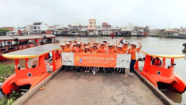 世界环境日:使用太阳能垃圾收集船清理湄公河 hinh anh 2