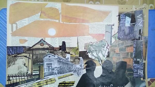 用报纸制成的艺术绘画作品充满昔日与今日的生活气息 hinh anh 2