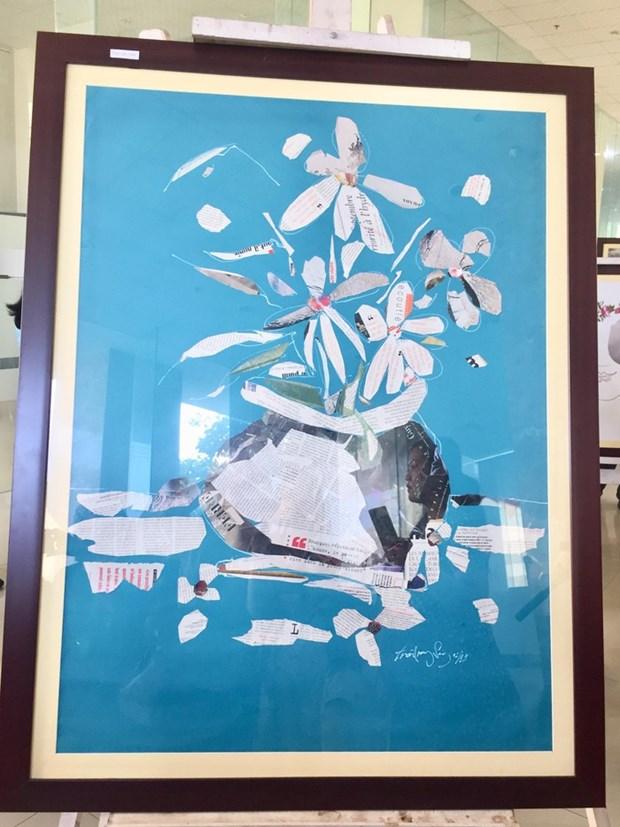 用报纸制成的艺术绘画作品充满昔日与今日的生活气息 hinh anh 3