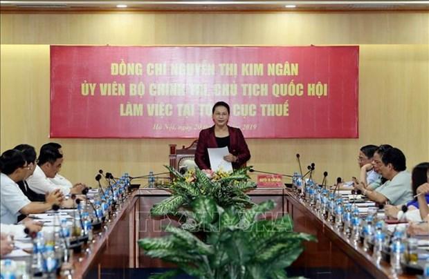 越南国会主席阮氏金银莅临国家税务总局调研 hinh anh 1