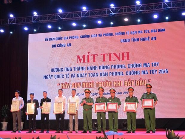 响应国际禁毒日和越南全民禁毒行动月的集会活动在乂安省举行 hinh anh 1