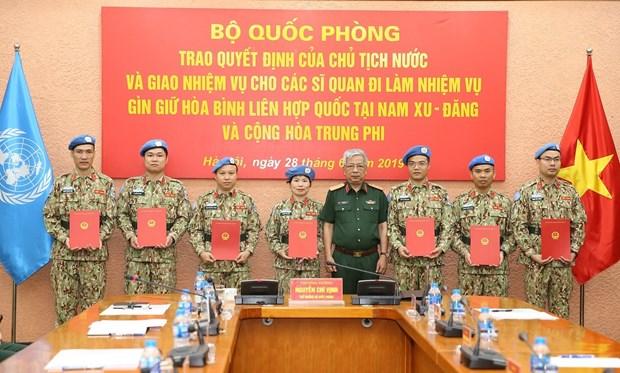 7名越南军官赴南苏丹和中非参与联合国维和行动 hinh anh 1