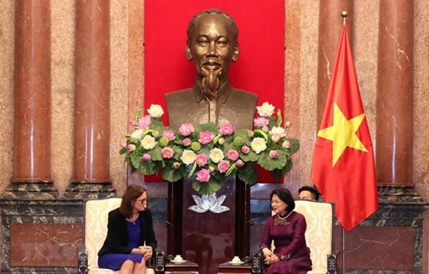 越南国家副主席邓氏玉盛会见欧洲贸易委员会委员塞西莉亚 hinh anh 1